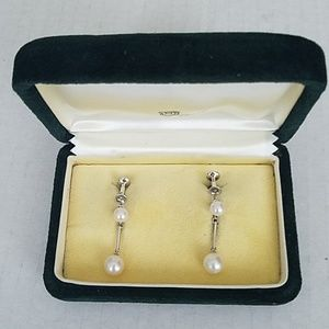 Mikimoto Silver Dangling Pearl Screw Back Earring
